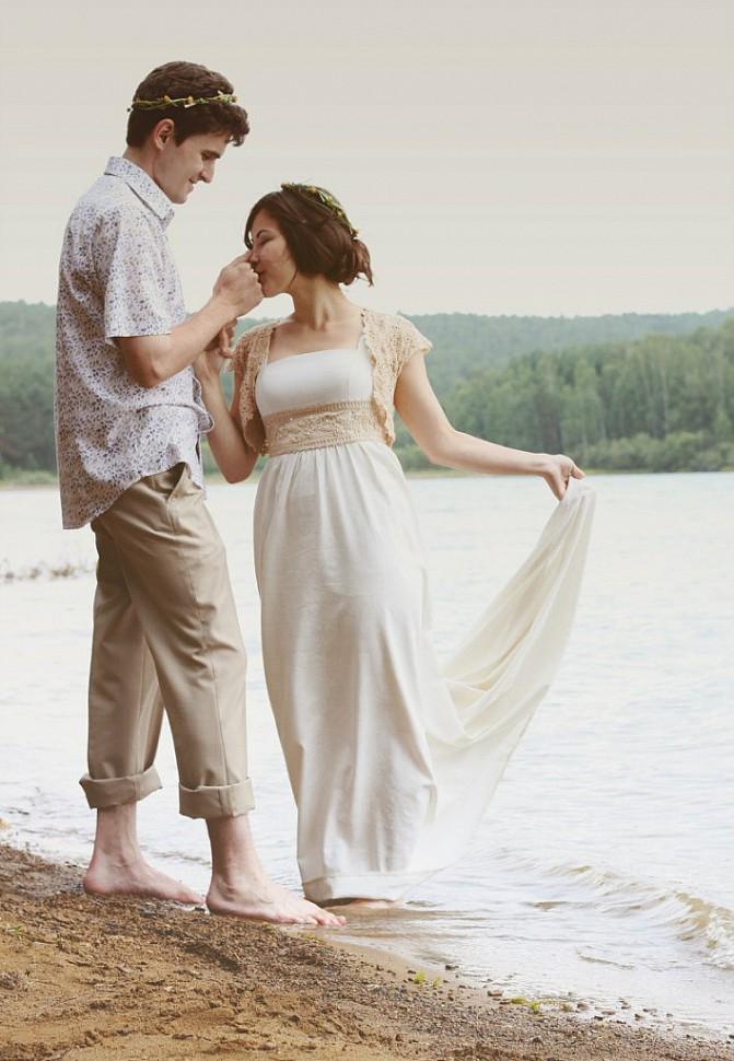 Свадебное платье из льна купить